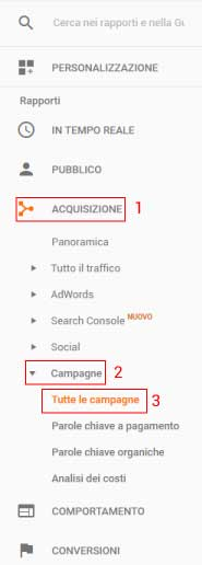 Menù Google Analytics Campagne