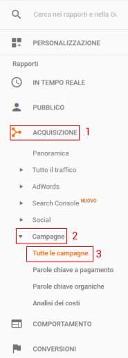 Menù Google Analytics Campagne